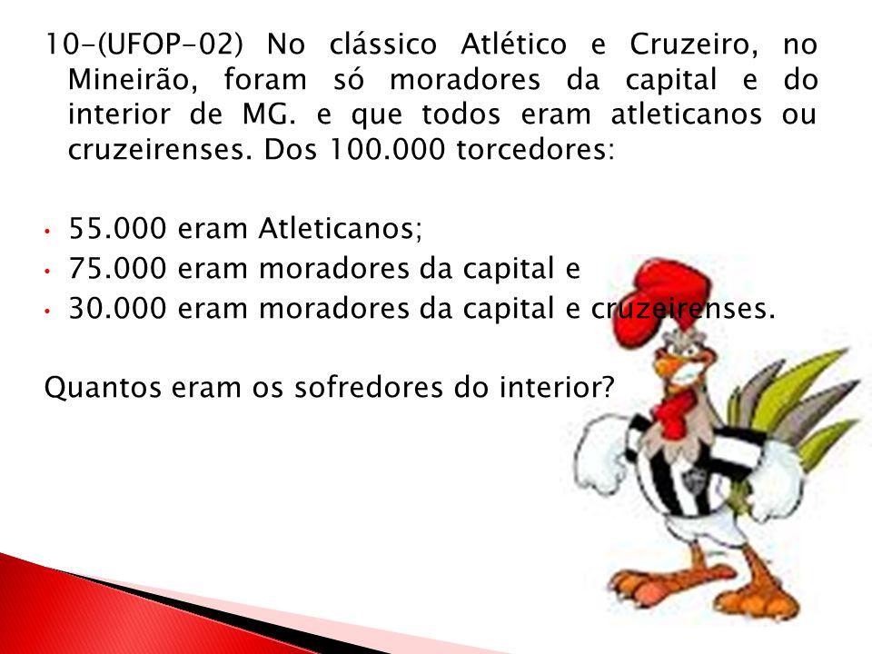 10-(UFOP-02) No clássico Atlético e Cruzeiro, no Mineirão, foram só moradores da capital e do interior de MG. e que todos eram atleticanos ou cruzeirenses. Dos 100.000 torcedores: