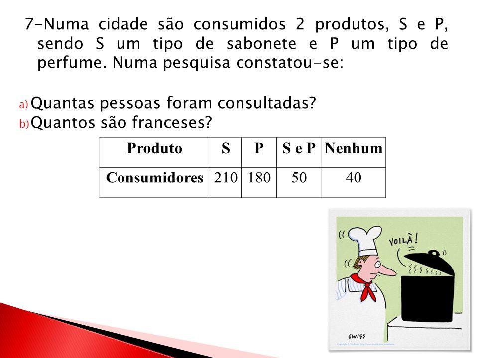 7-Numa cidade são consumidos 2 produtos, S e P, sendo S um tipo de sabonete e P um tipo de perfume. Numa pesquisa constatou-se: