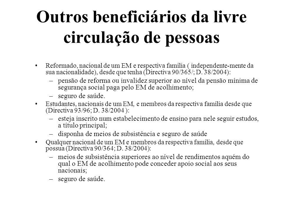 Outros beneficiários da livre circulação de pessoas