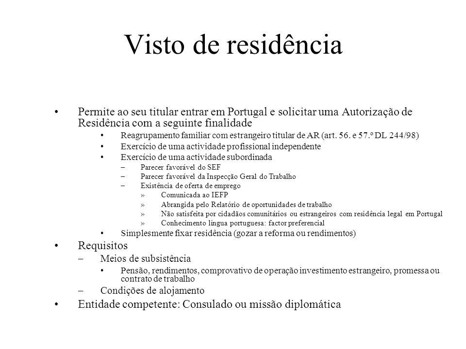 Visto de residência Permite ao seu titular entrar em Portugal e solicitar uma Autorização de Residência com a seguinte finalidade.