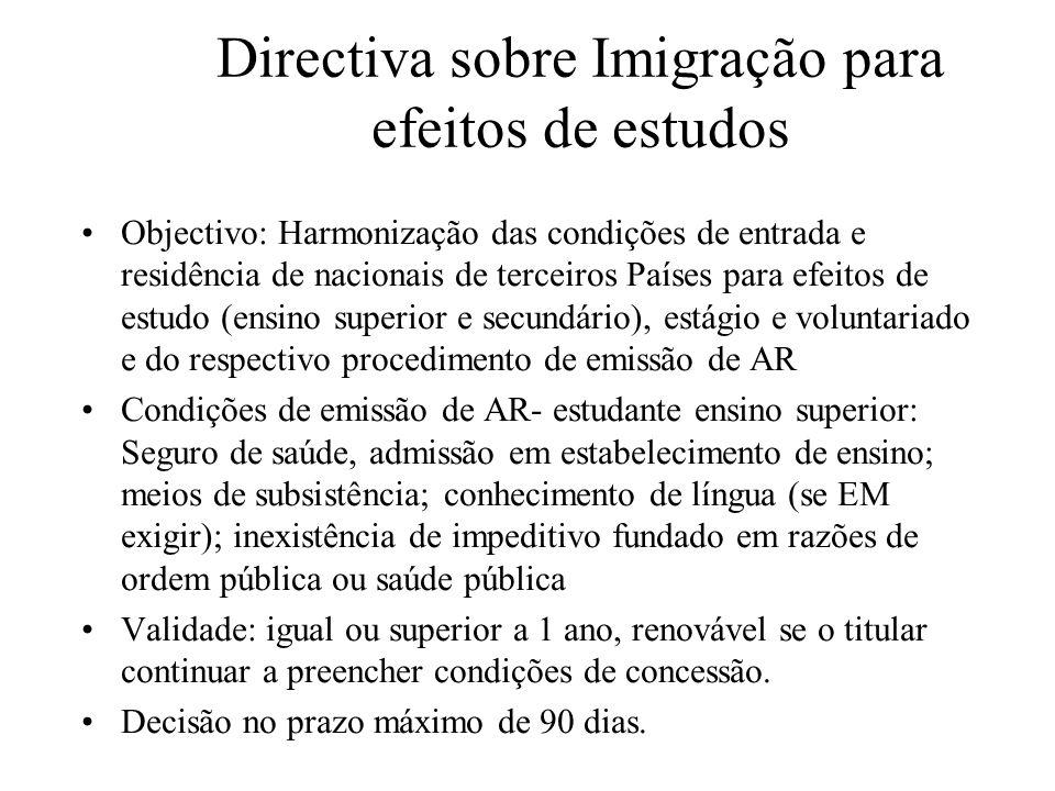 Directiva sobre Imigração para efeitos de estudos
