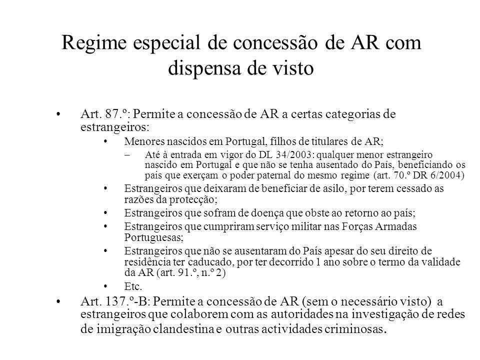 Regime especial de concessão de AR com dispensa de visto