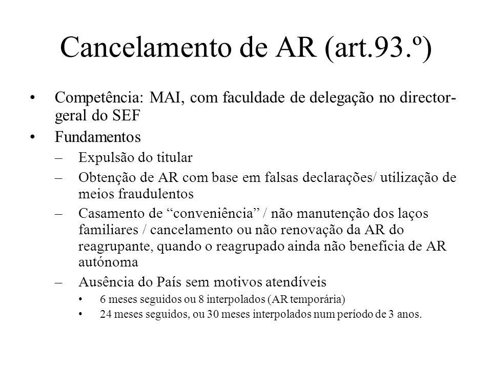 Cancelamento de AR (art.93.º)