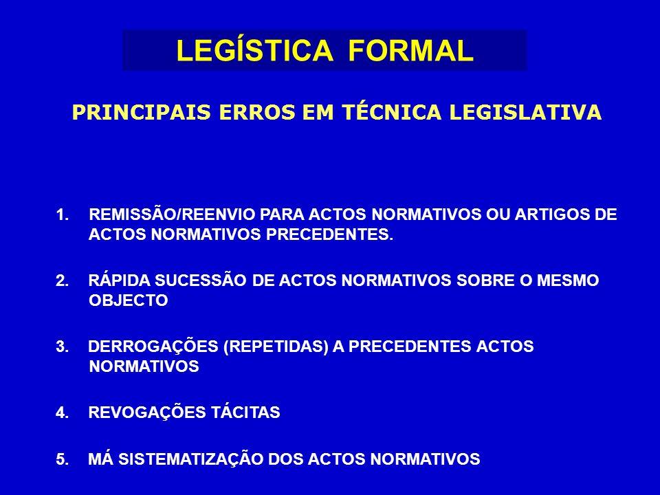 PRINCIPAIS ERROS EM TÉCNICA LEGISLATIVA