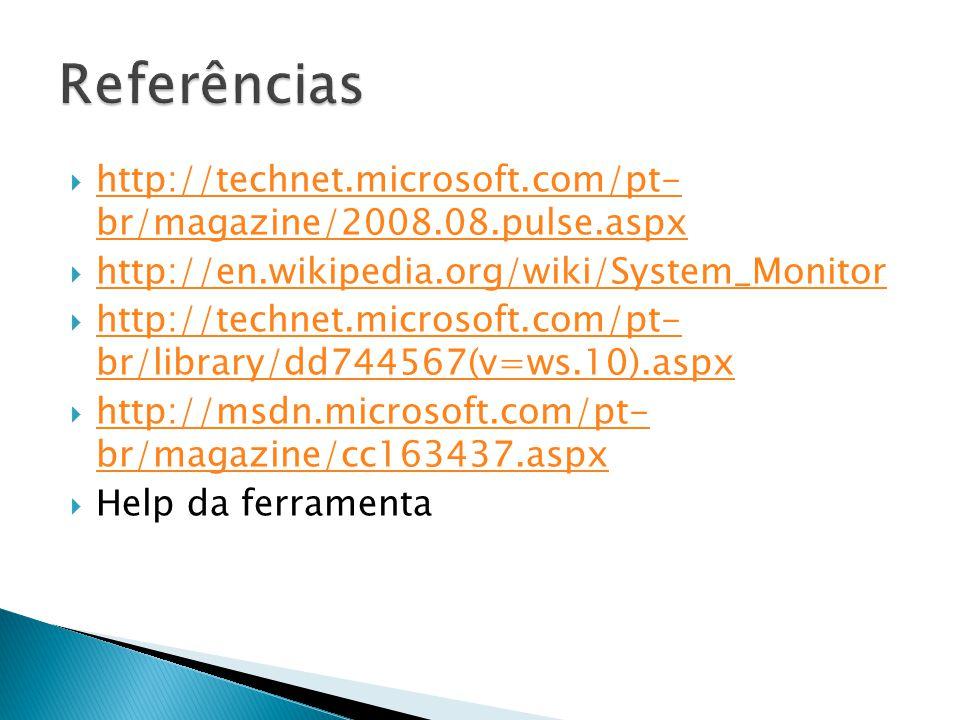 Referências http://technet.microsoft.com/pt- br/magazine/2008.08.pulse.aspx. http://en.wikipedia.org/wiki/System_Monitor.