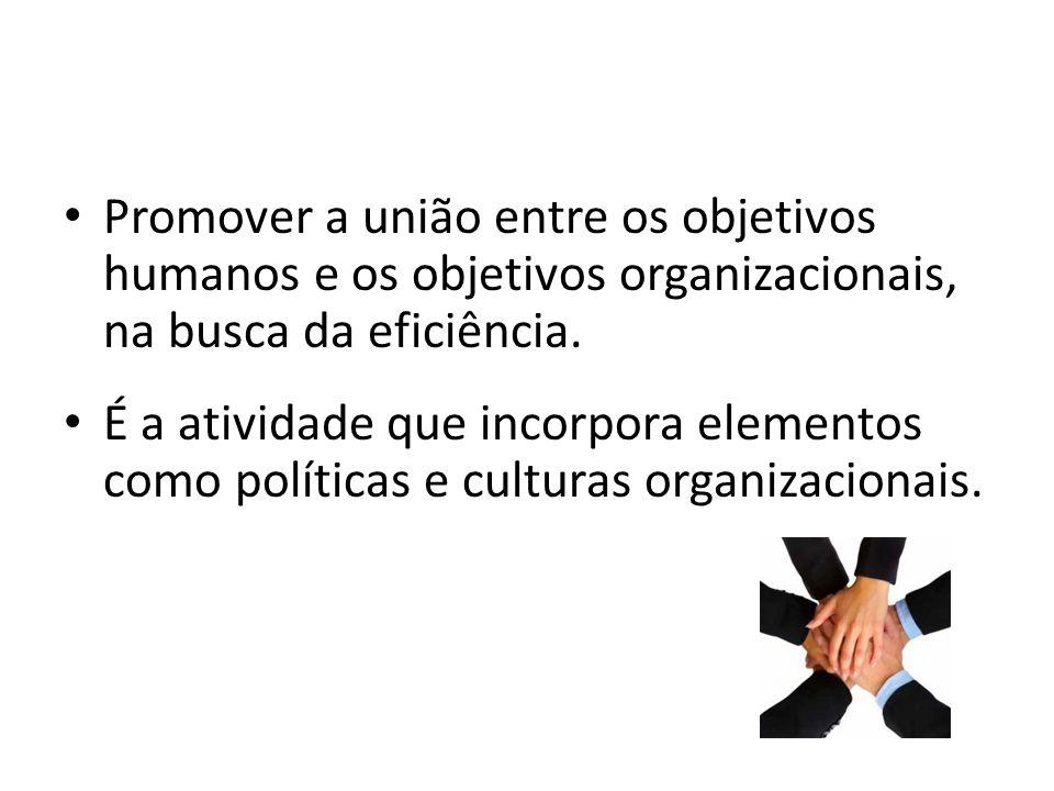 Promover a união entre os objetivos humanos e os objetivos organizacionais, na busca da eficiência.