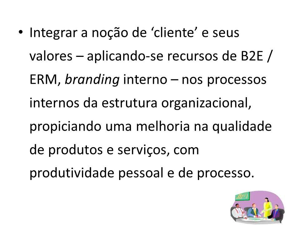 Integrar a noção de 'cliente' e seus valores – aplicando-se recursos de B2E / ERM, branding interno – nos processos internos da estrutura organizacional, propiciando uma melhoria na qualidade de produtos e serviços, com produtividade pessoal e de processo.