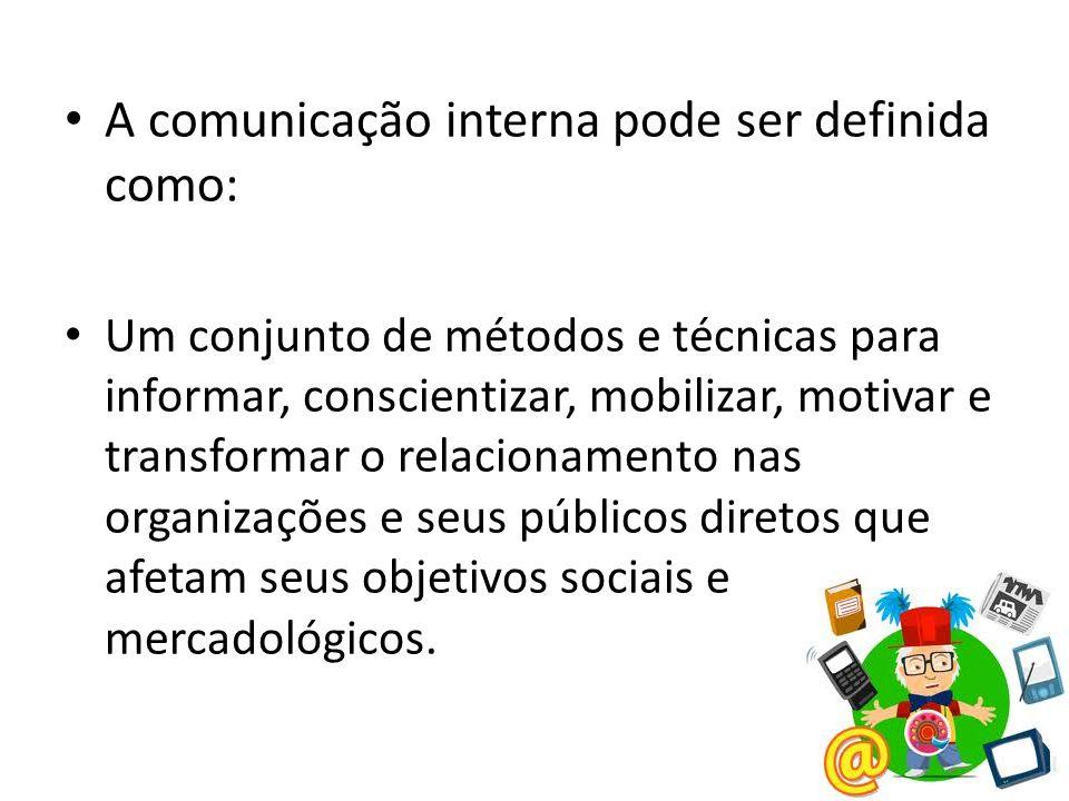 A comunicação interna pode ser definida como:
