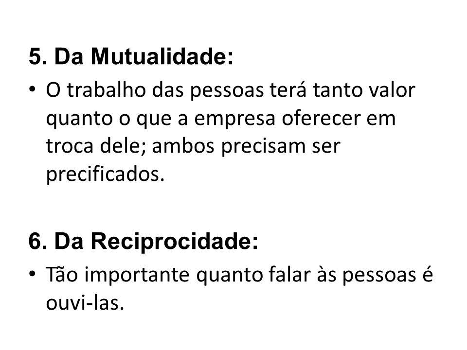 5. Da Mutualidade: O trabalho das pessoas terá tanto valor quanto o que a empresa oferecer em troca dele; ambos precisam ser precificados.