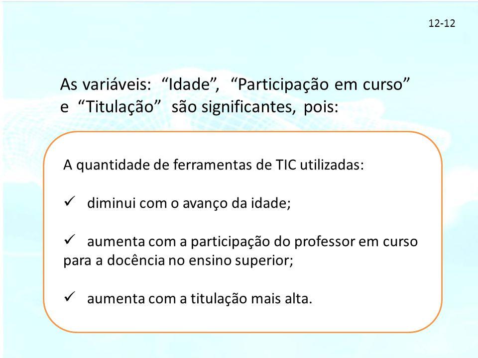 12-12 As variáveis: Idade , Participação em curso e Titulação são significantes, pois: A quantidade de ferramentas de TIC utilizadas: