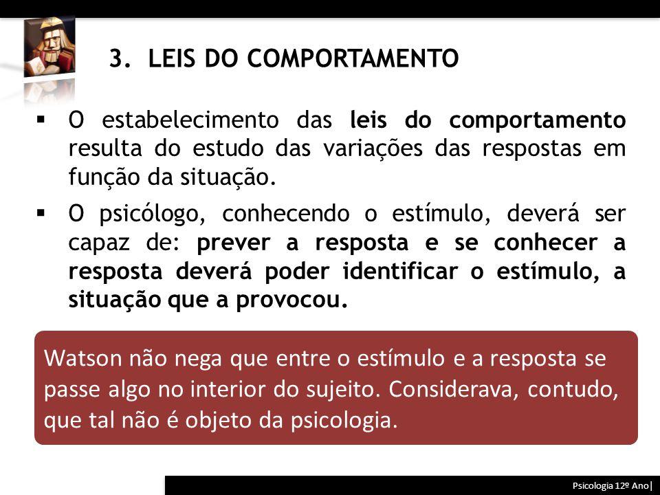 3. LEIS DO COMPORTAMENTO O estabelecimento das leis do comportamento resulta do estudo das variações das respostas em função da situação.