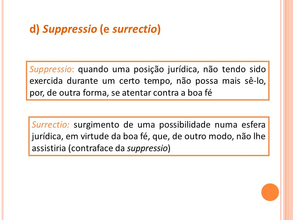 d) Suppressio (e surrectio)