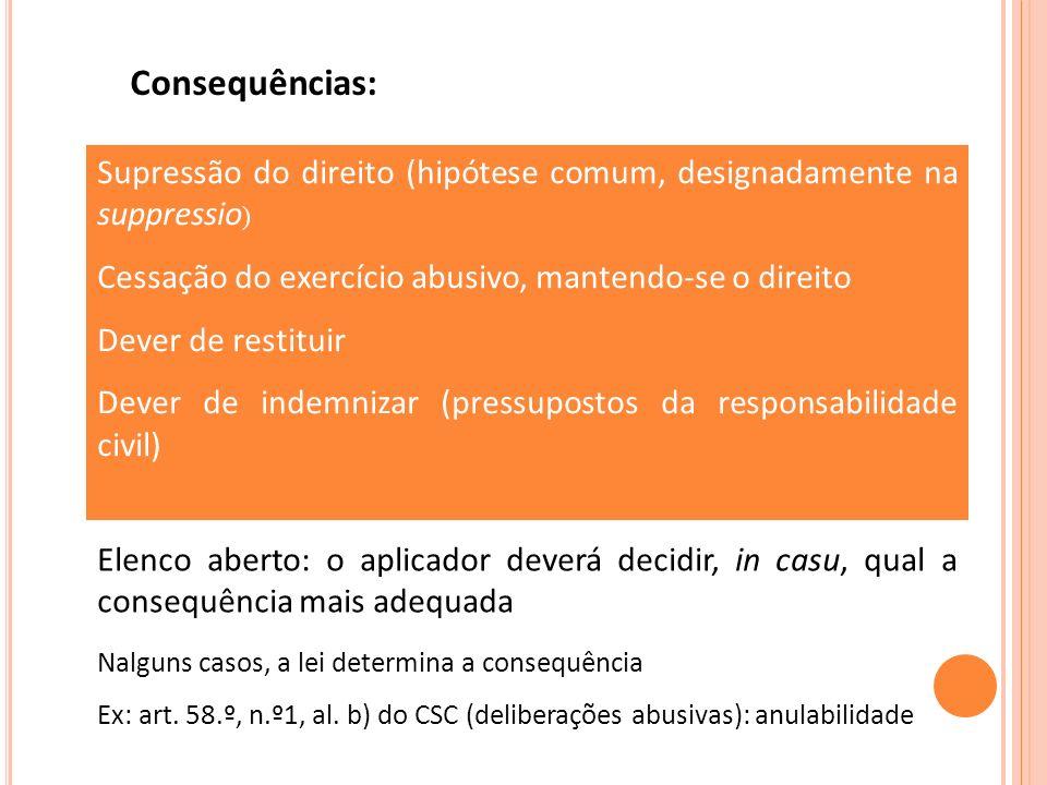 Consequências: Supressão do direito (hipótese comum, designadamente na suppressio) Cessação do exercício abusivo, mantendo-se o direito.