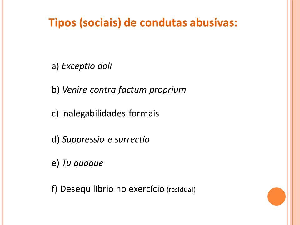 Tipos (sociais) de condutas abusivas: