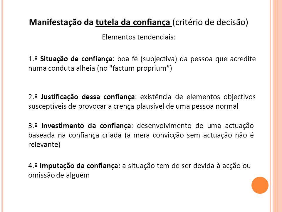 Manifestação da tutela da confiança (critério de decisão)