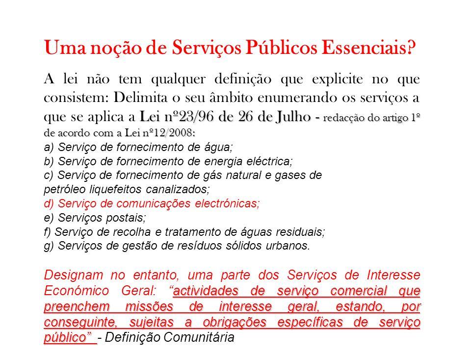 Uma noção de Serviços Públicos Essenciais