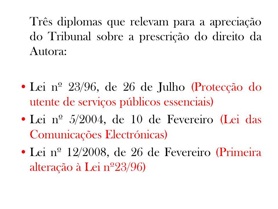 Três diplomas que relevam para a apreciação do Tribunal sobre a prescrição do direito da Autora: