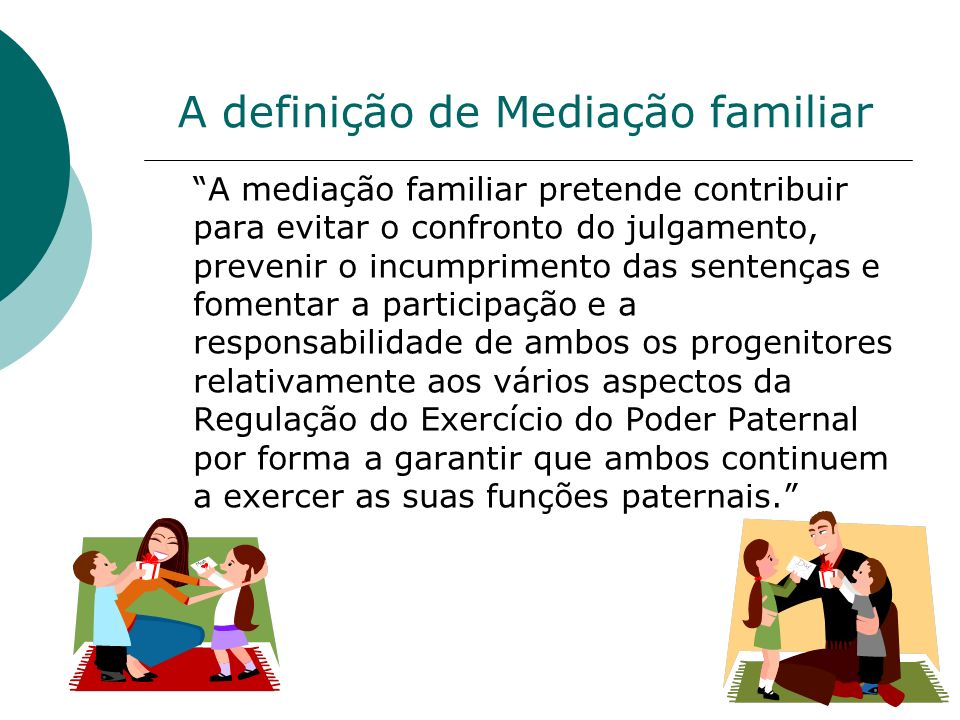 A definição de Mediação familiar