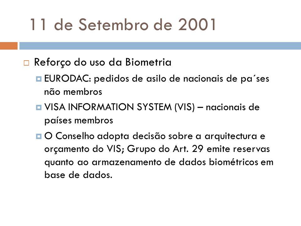 11 de Setembro de 2001 Reforço do uso da Biometria