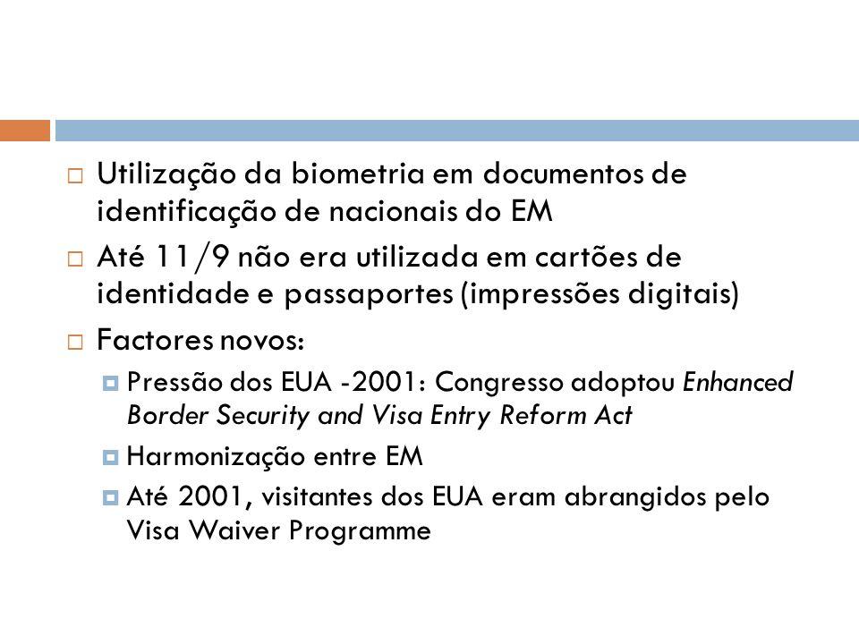 Utilização da biometria em documentos de identificação de nacionais do EM