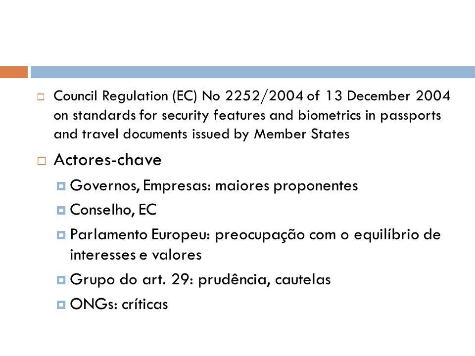 Actores-chave Governos, Empresas: maiores proponentes Conselho, EC