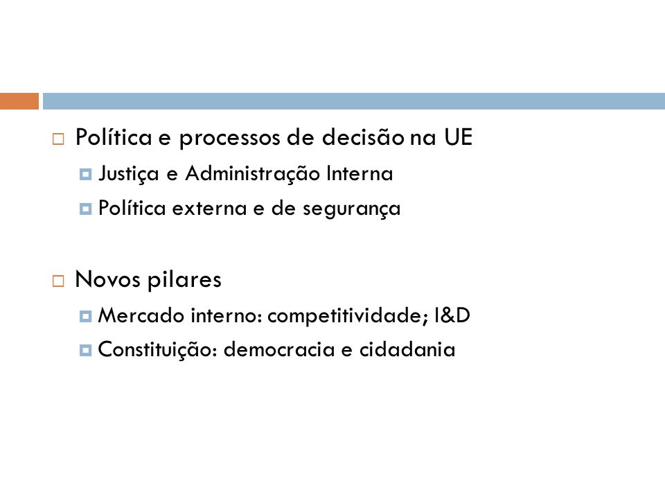 Política e processos de decisão na UE