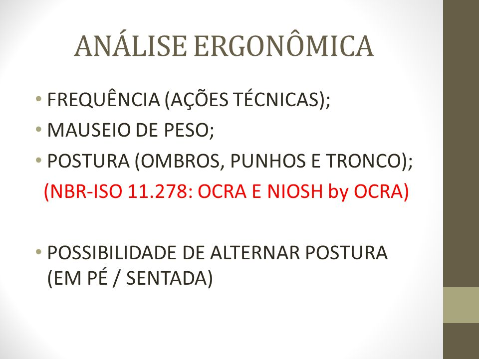 (NBR-ISO 11.278: OCRA E NIOSH by OCRA)