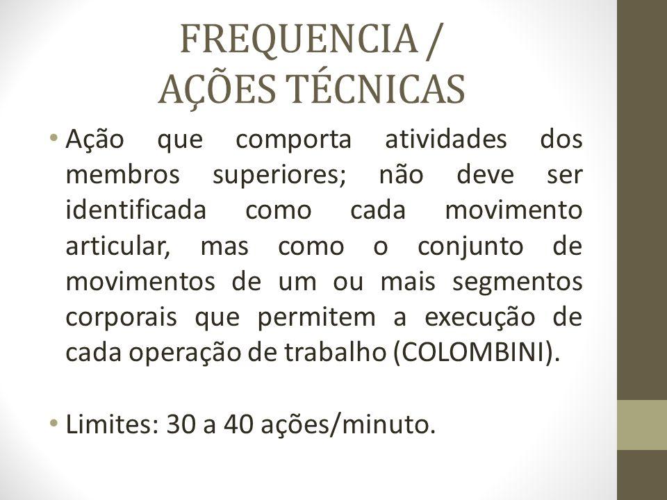 FREQUENCIA / AÇÕES TÉCNICAS