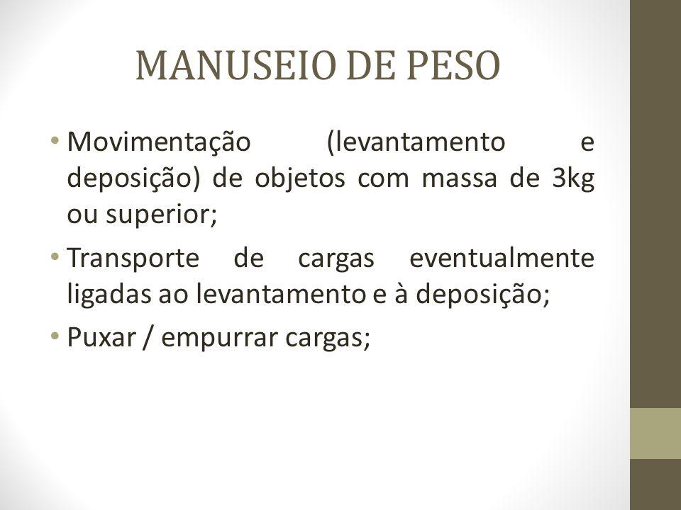 MANUSEIO DE PESO Movimentação (levantamento e deposição) de objetos com massa de 3kg ou superior;