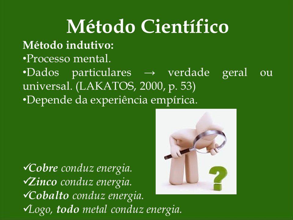 Método Científico Método indutivo: Processo mental.