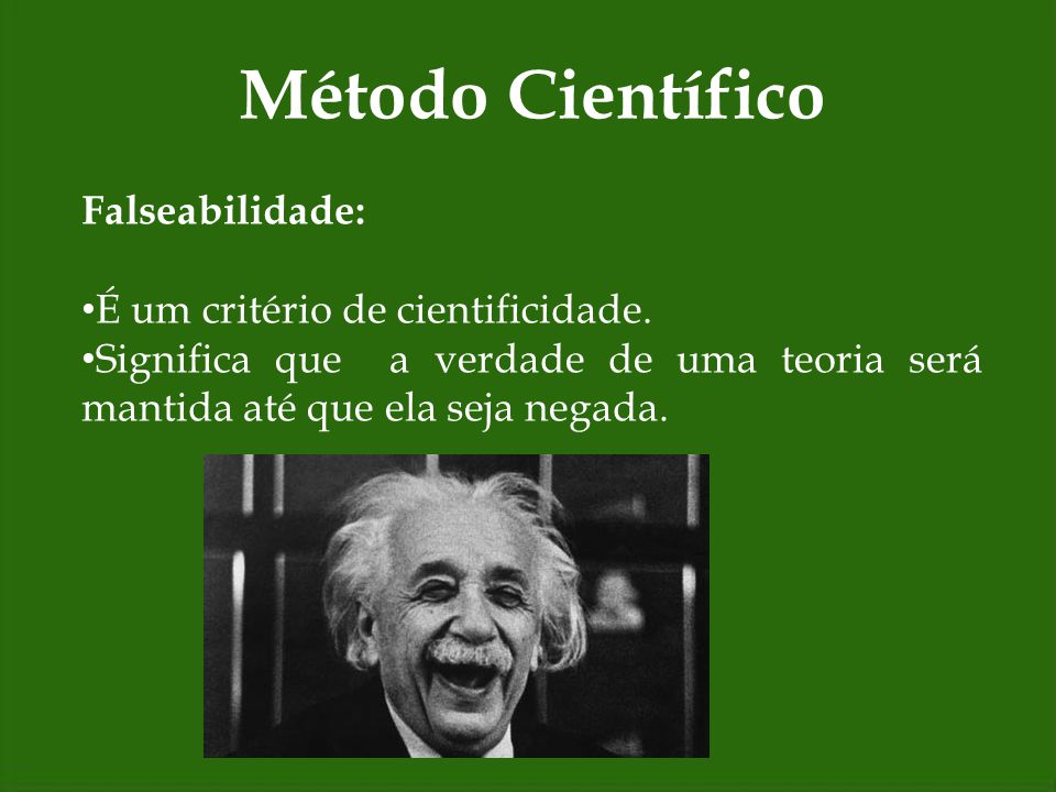 Método Científico Falseabilidade: É um critério de cientificidade.