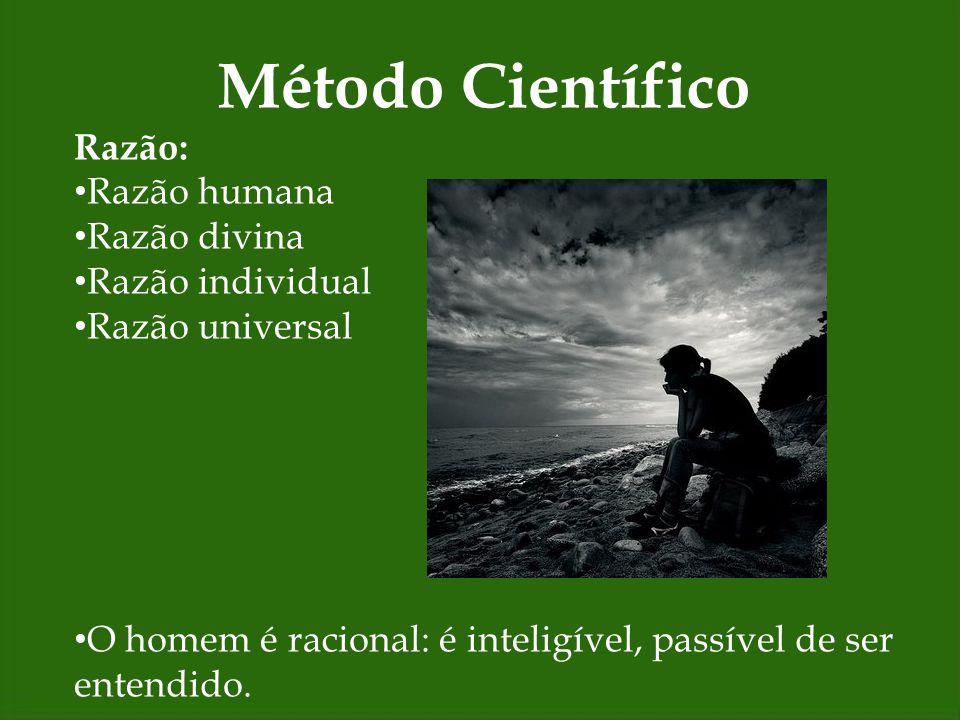 Método Científico Razão: Razão humana Razão divina Razão individual