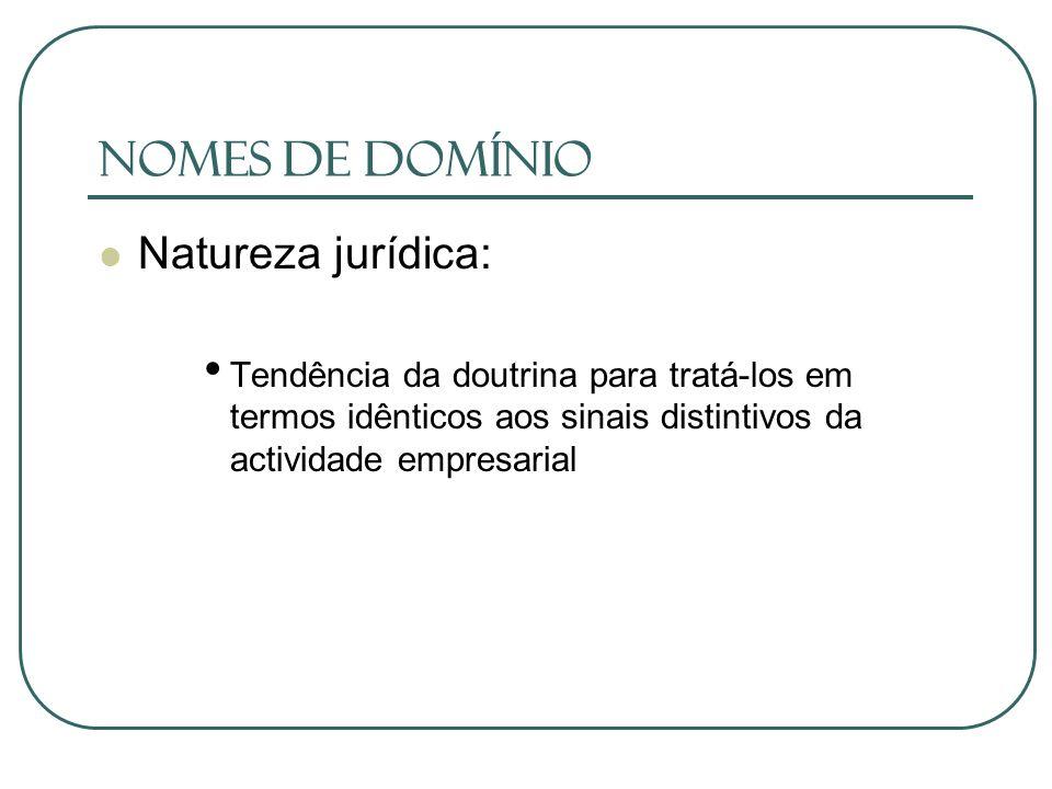 Nomes de Domínio Natureza jurídica: