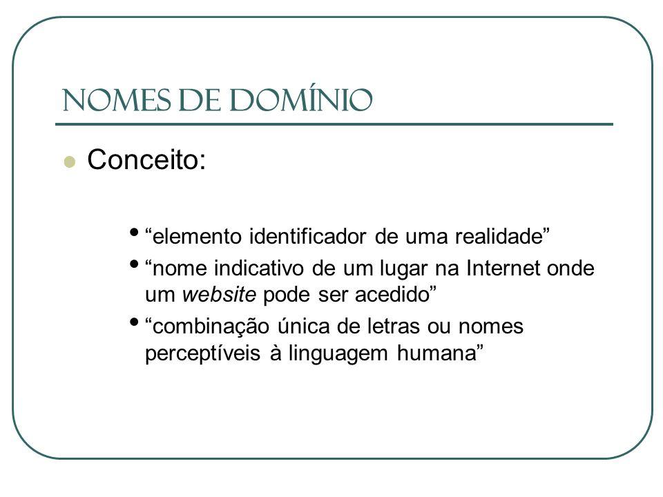 Nomes de Domínio Conceito: elemento identificador de uma realidade