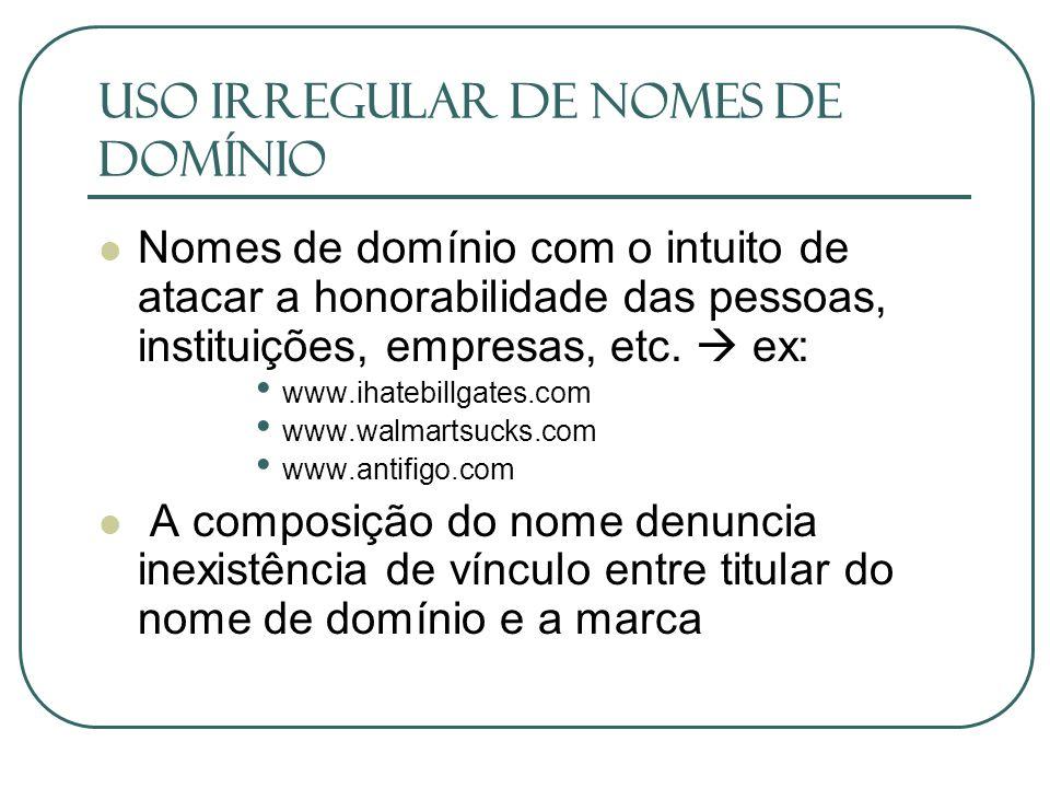 USO IRREGULAR DE NOMES DE DOMÍNIO
