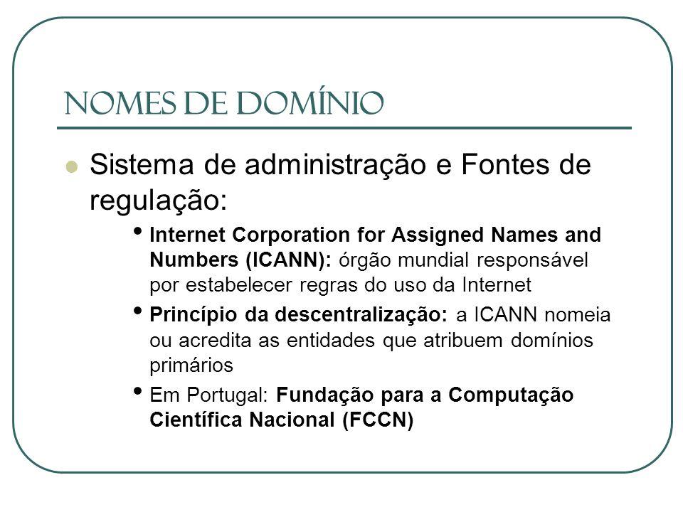 Nomes de Domínio Sistema de administração e Fontes de regulação: