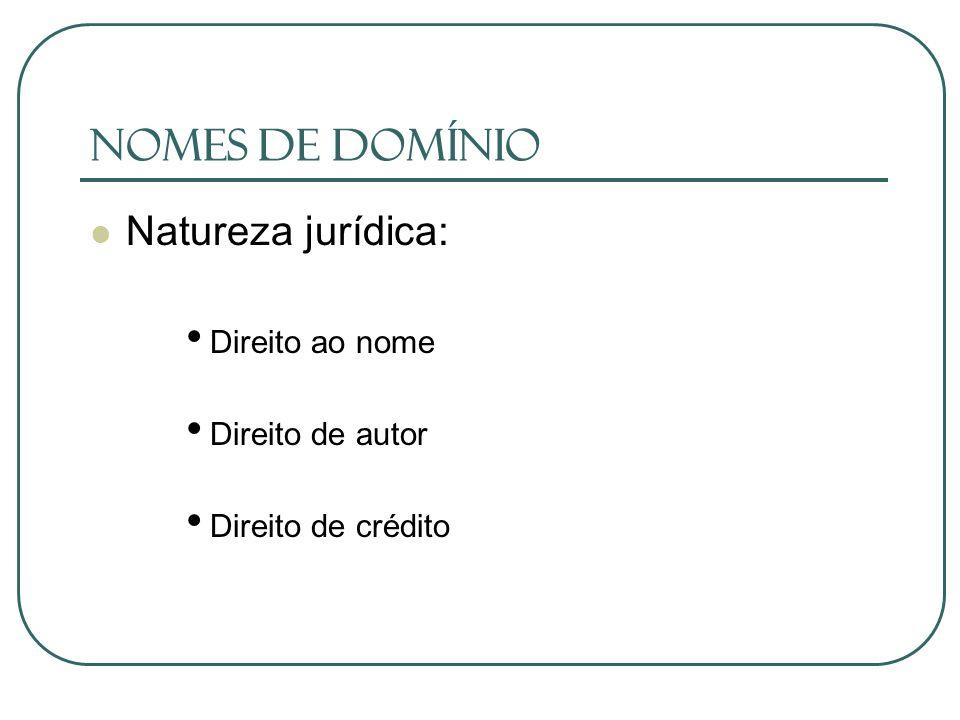 Nomes de Domínio Natureza jurídica: Direito ao nome Direito de autor