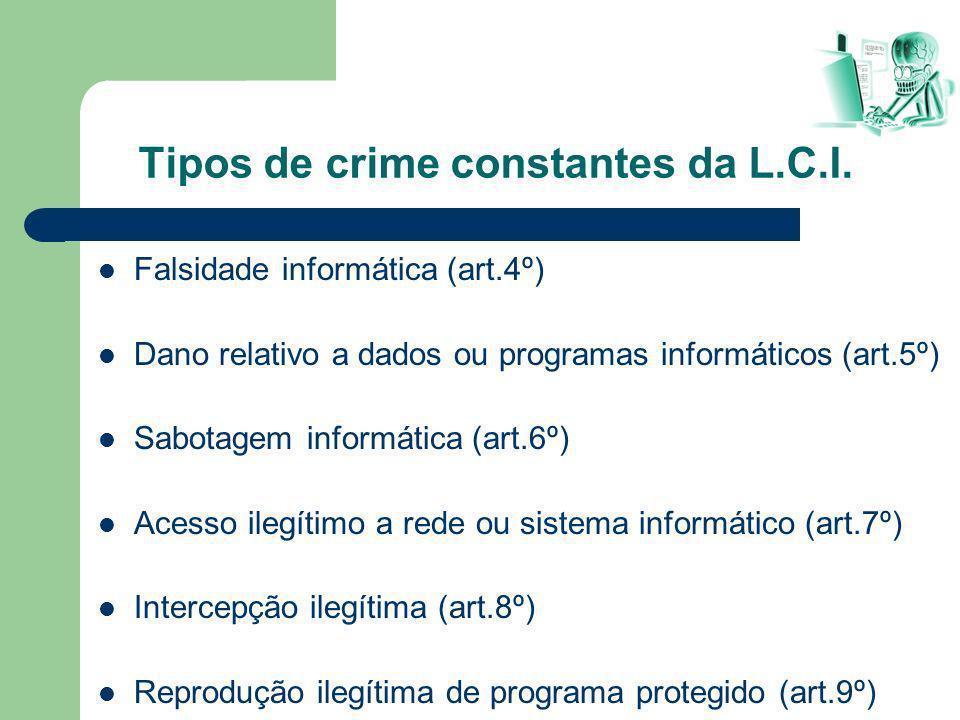 Tipos de crime constantes da L.C.I.