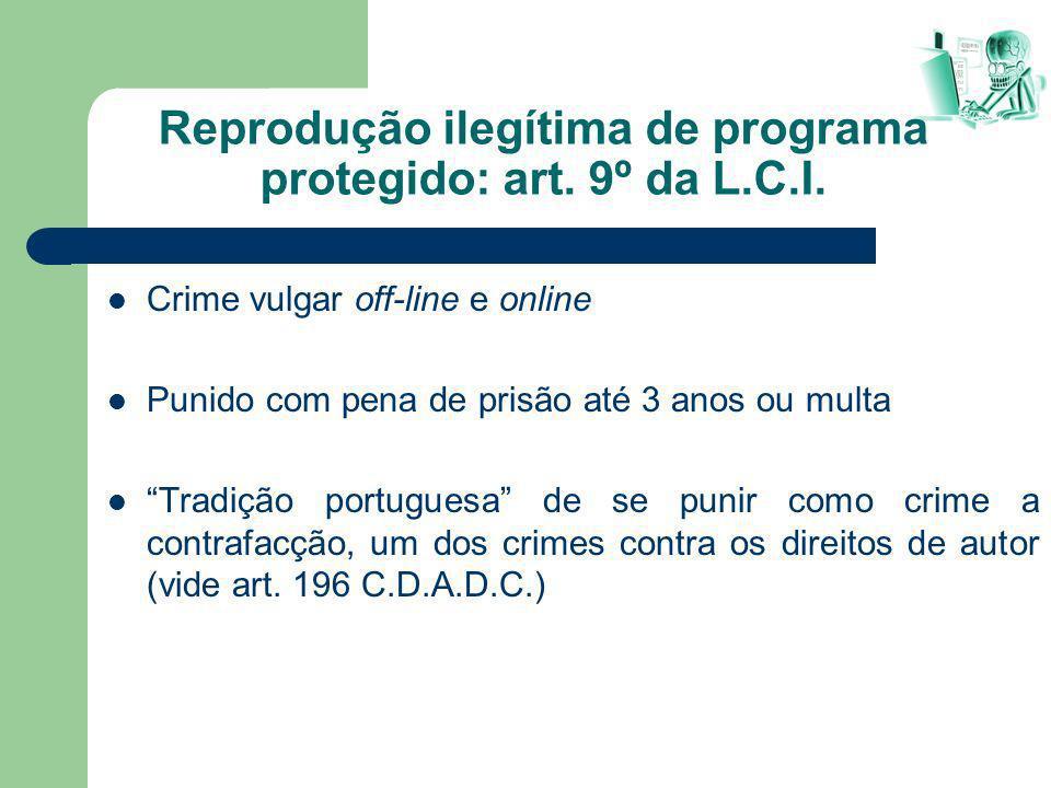 Reprodução ilegítima de programa protegido: art. 9º da L.C.I.