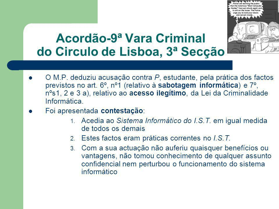 Acordão-9ª Vara Criminal do Circulo de Lisboa, 3ª Secção