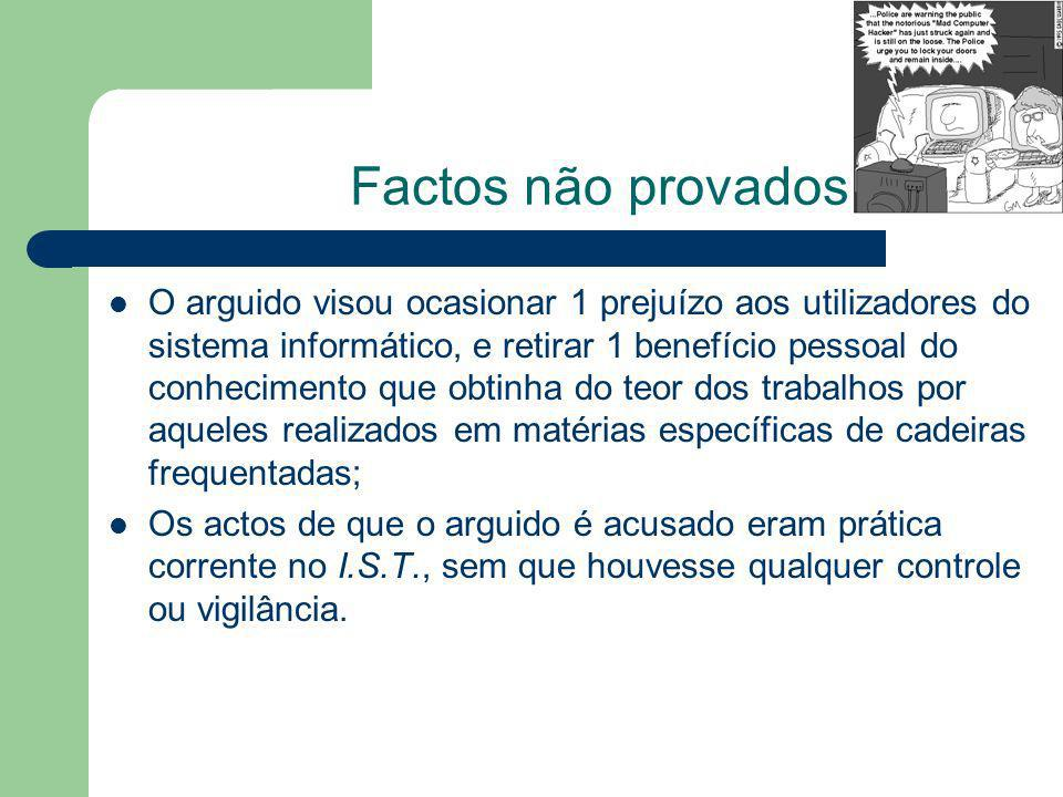 Factos não provados