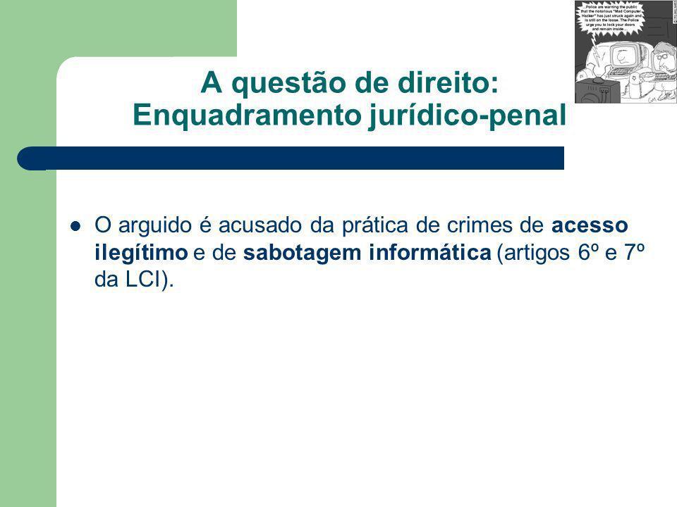 A questão de direito: Enquadramento jurídico-penal