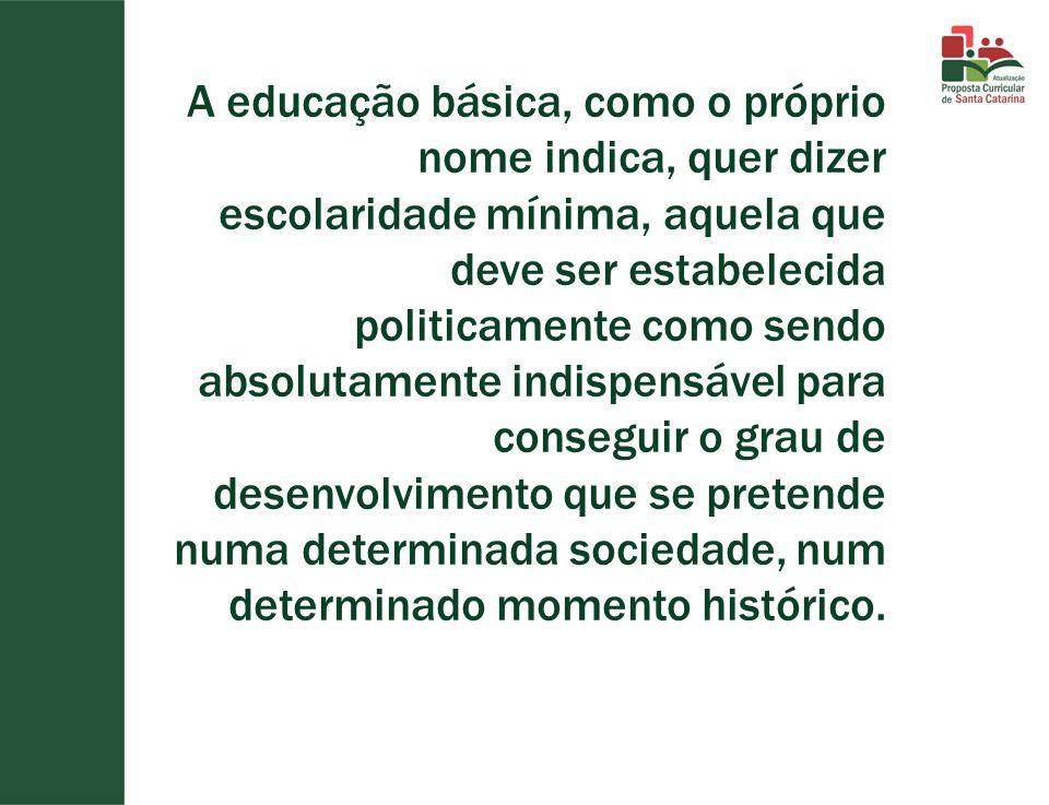 A educação básica, como o próprio nome indica, quer dizer escolaridade mínima, aquela que deve ser estabelecida politicamente como sendo absolutamente indispensável para conseguir o grau de desenvolvimento que se pretende numa determinada sociedade, num determinado momento histórico.