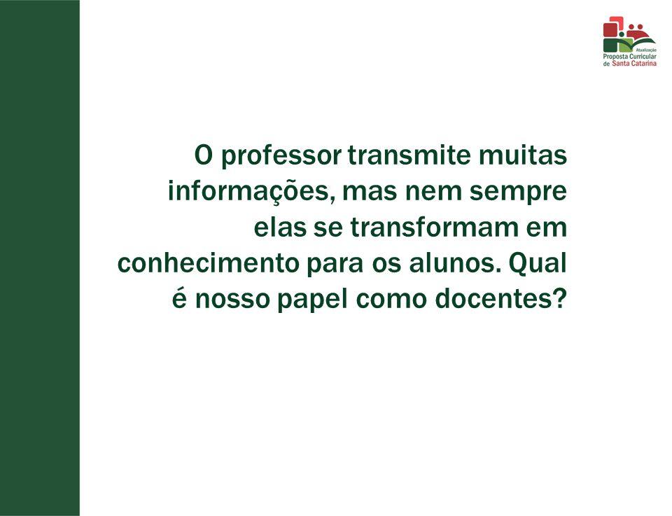 O professor transmite muitas informações, mas nem sempre elas se transformam em conhecimento para os alunos.