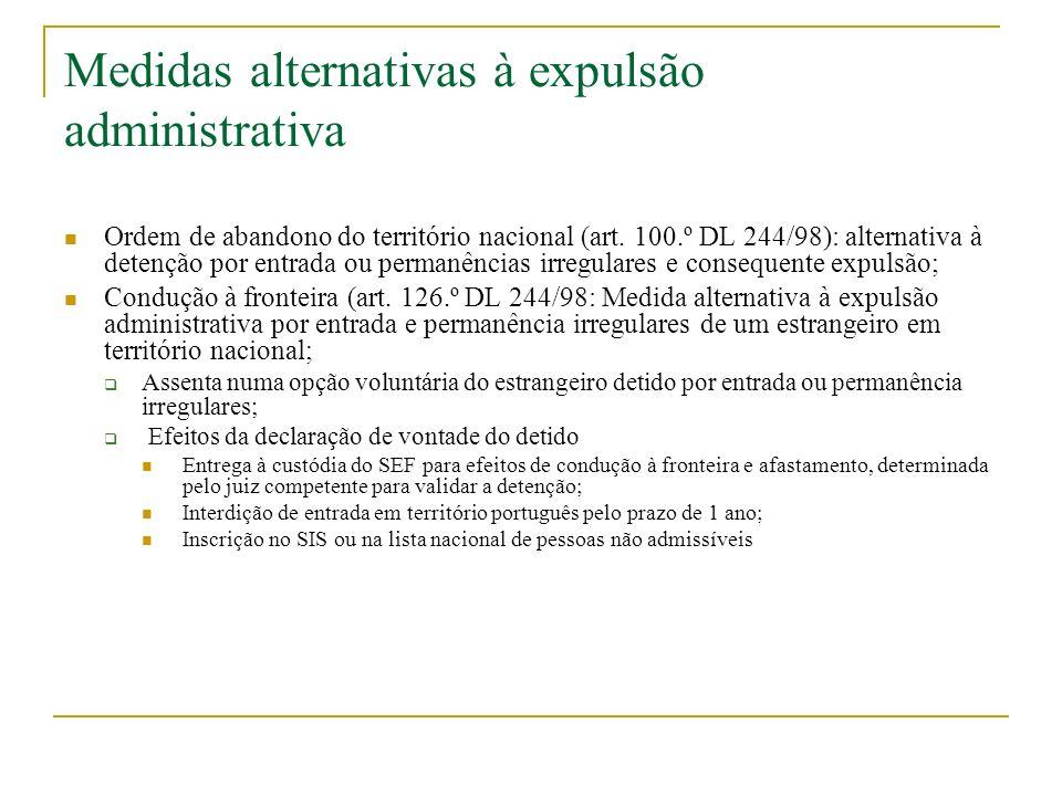 Medidas alternativas à expulsão administrativa