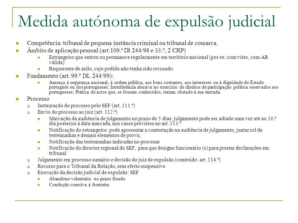 Medida autónoma de expulsão judicial