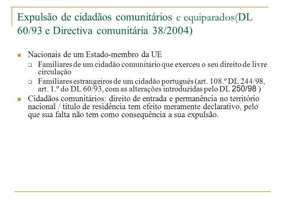 Expulsão de cidadãos comunitários e equiparados(DL 60/93 e Directiva comunitária 38/2004)