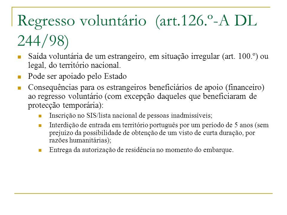 Regresso voluntário (art.126.º-A DL 244/98)