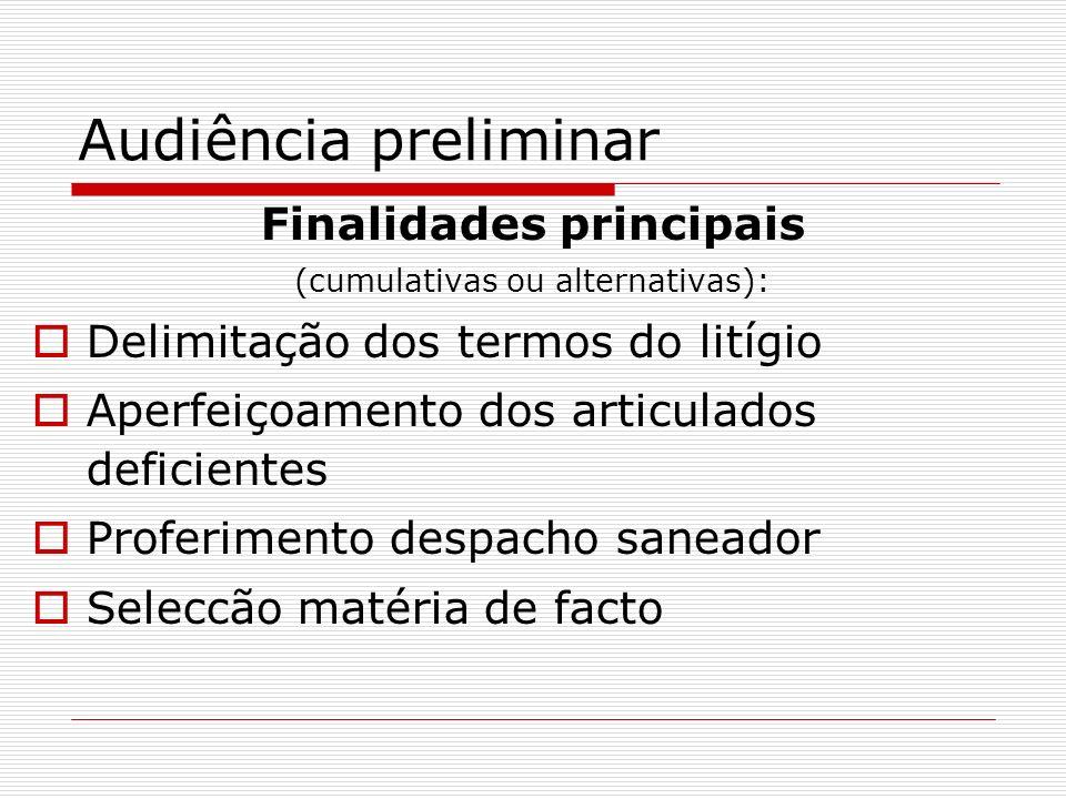 Audiência preliminar Finalidades principais