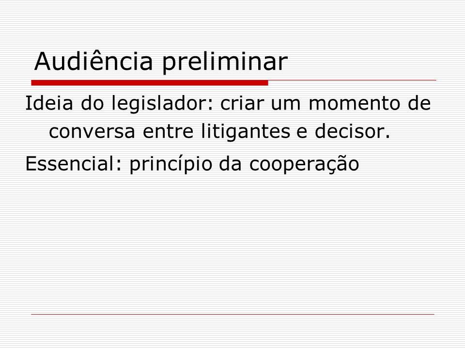 Audiência preliminar Ideia do legislador: criar um momento de conversa entre litigantes e decisor.